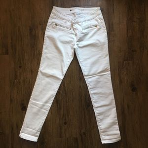 Solid White Gold Zipper Jeans